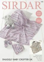 Sirdar Snuggly Baby Crofter DK - 4758 Blankets, Bootees & Bonnet Knitting Pattern